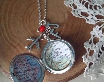 Long distance love vintage map silver locket