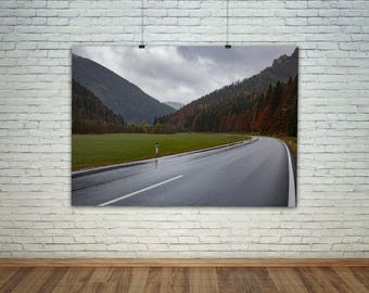 Travel Photography, Road Art, Winding Road, Woodland Art, Mountain Print, Road Art Photography