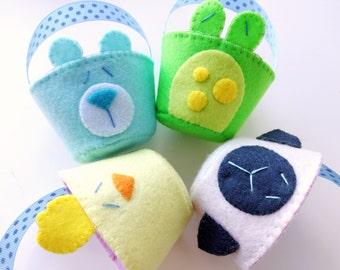Felt Spring Animal Baskets Sewing Pattern - PDF ePATTERN for Bunny, Chick, Lamb, Frog, Bear, Monkey