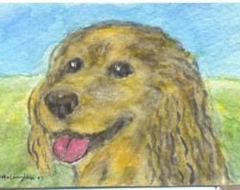 FOLK ART PAINTING, Spaniel Doggy, A C E O, S F A