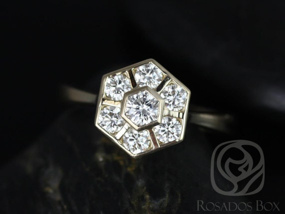 Rosados Box Mosaic Grande 14kt Yellow Gold Diamonds Cluster WITHOUT Milgrain Ring