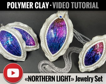 Polymer Clay Tutorial Vol.13: DIY How to make Jewelry Set «Northern Light» using Crackle Surface, Detailed Video Tutorial, Instant Access