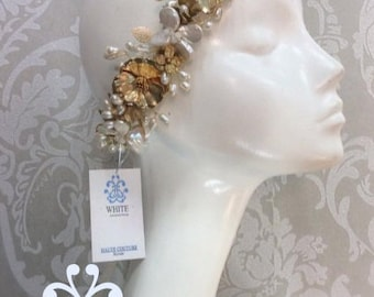 Headband gold with flowers gold and pearls mother  STYLE WHB-496