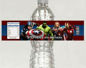 Printable AVENGERS personalized Birthday Water Bottle Labels
