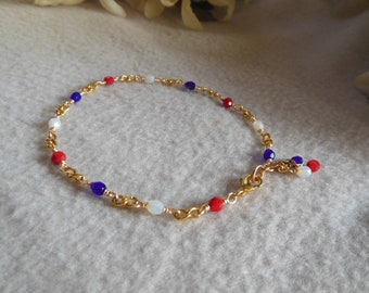 Red White and Blue Anklet