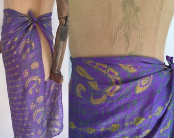Vintage 70's Indian silk  floral parint scarf/70's hand woven Indian silk scarf