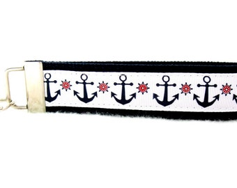 Nautical Key Fob NAVY Anchors Wheels Key Chain