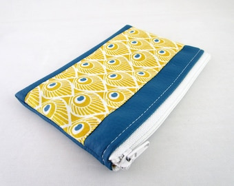 Wallet in faux leather fabric and Teal Yellow Peacock feather