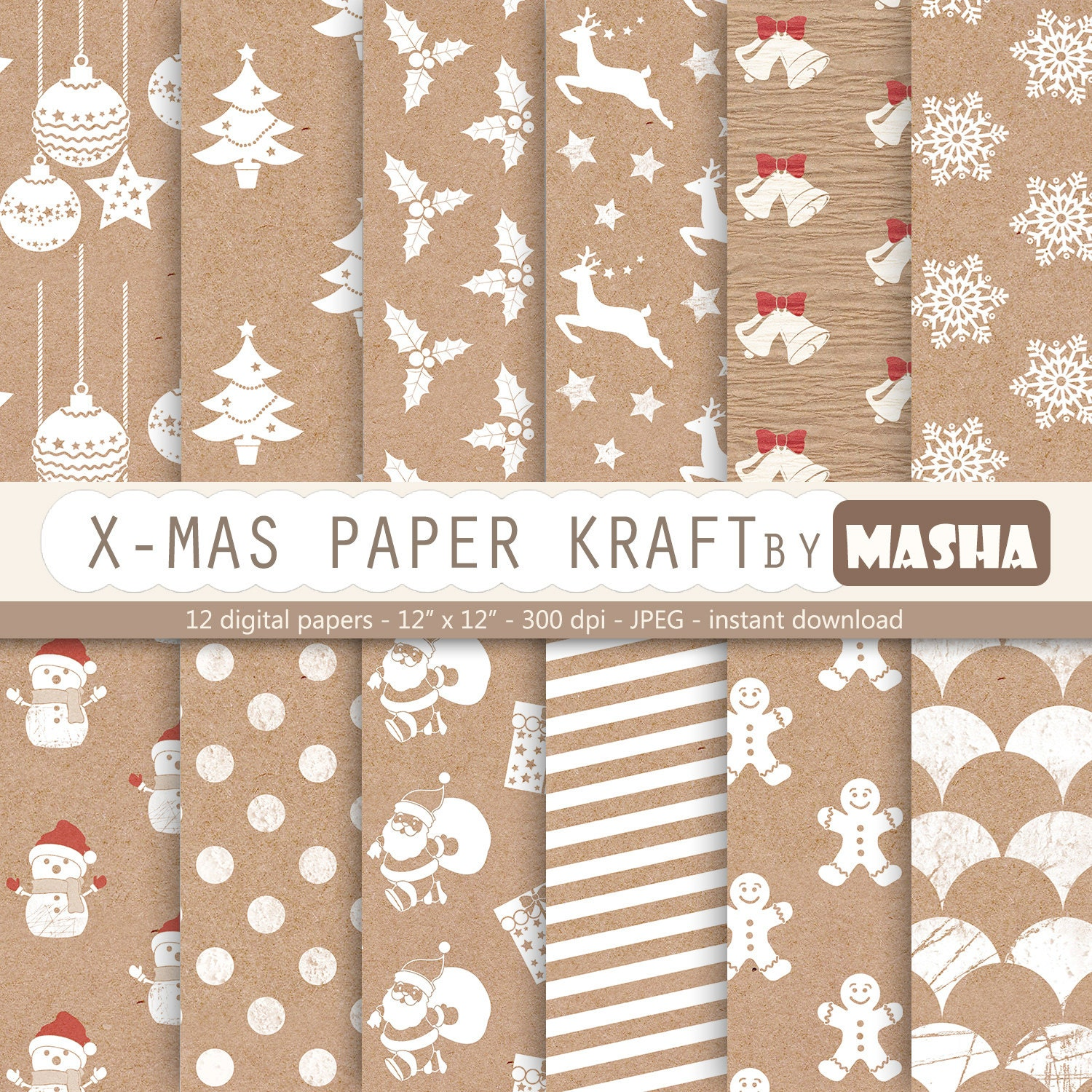 Christmas digital paper christmas kraft paper zoom jeuxipadfo Image collections