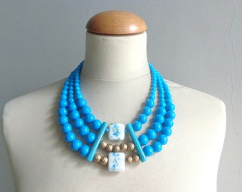 Turquoise statement necklace, multi strand necklace