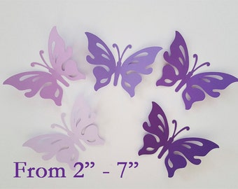 "Large paper butterfly die cuts /purple colors / 15 pc. set /   size from 2"" to 7"" / big butterfly die cuts"