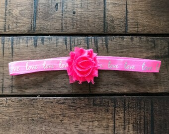 Pink and Gold or Silver Headband, Love, Sweetheart, Sweetie, Valentines Day