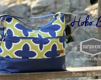 Large Hobo Bag in Lime and Royal geometric printed canvas