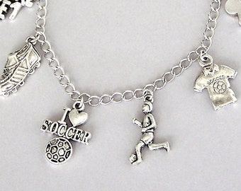 Soccer bracelet or necklace, soccer charm bracelet, love sports jewelry, football, gift for men, tournament, jersey, player, ball, cleats