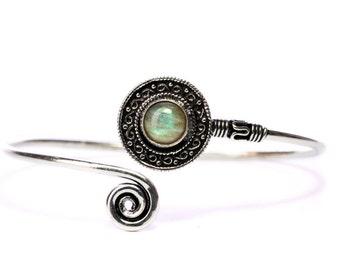 Boho Tribal Bangle Labradorite Gemstone Bracelet Adjustable Gift Boxed + Giftbag + Free UK Delivery WBB28