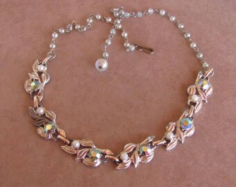 Vintage 50's - Aurora Borealis Rhinestones and Pearls Choker Necklace