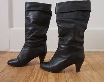 Vintage Black Leather Slouchy Boots // Sexy Shoes 80s Womens 6.5