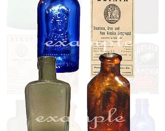 Medicine Bottles Digital Collage Sheet