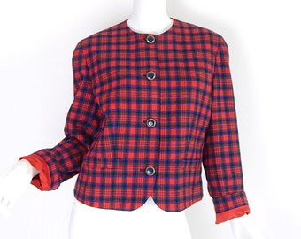 Vintage 80s Red Plaid Pendleton Wool Blazer - Size 10 - Women's Collarless Red Blue Green Tartan Suit Jacket - Preppy