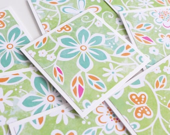 Mini Stationery Set, Green and Orange Flowers Mini Cards with Envelope, Handmade Note Cards, Square Cards, Love Note, 3x3 Cards