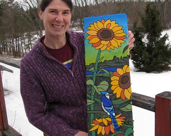 Sunflower / Blue Jay. Sorry that the listing is incomplete; I wanted to get it up because the artwork is for sale & immediately purchasable.