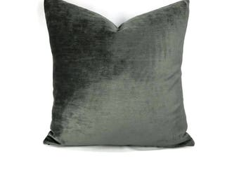 Smokey Gray Solid Chenille Pillow Cover