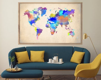 Watercolor World Map, Large World Map, Watercolor Map Print, World Map Print, World Map Poster, Travel Map, Wall Art, Home Decor, Watercolor