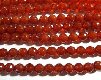 8mm Carnelian (128 Facets) Faceted Round Polished Semi-Precious Beads, Half Strand (IND1C26)