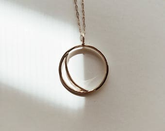 GOLD SUN + MOON / solid 14KY Gold sun and moon necklace / day + night, light + darkness / sun and moon necklace / crescent moon eclipse