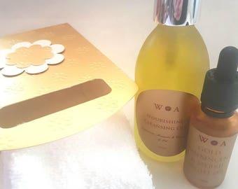 Gift set, Natural skin care, frankincense & myrrh face oil, night oil, oil cleansing method, skin care gift, natural gift, cleanser, gifts