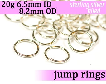 20g 6.5 mm ID 8.2 mm OD silver filled jump rings -- 20g6.50 jumprings