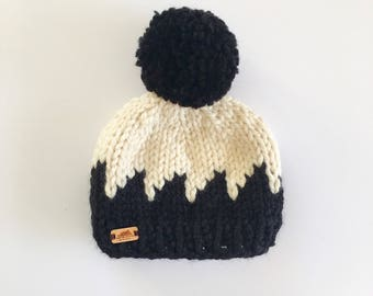Mountain Peaks Hat- Black/Fisherman|| Fair Isle Hat || Knit Hat || Pom Pom Hat || Color Block Hat || Chunky Knit Hat