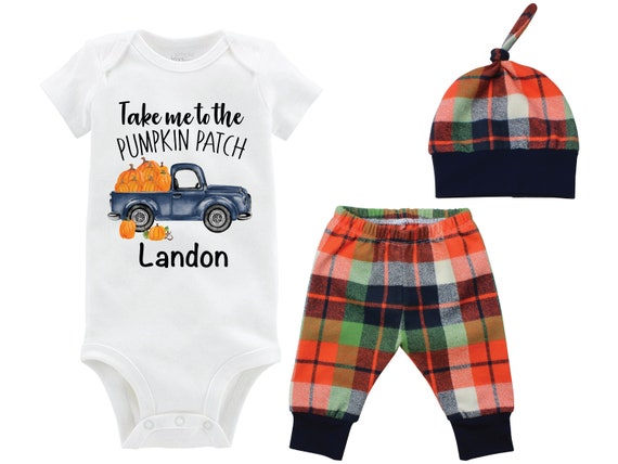 Boy Pumpkin Patch Onesie Outfit Fall Boy Pumpkin Truck Shirt Outfit Bodysuit Personalized Outfit Fall Plaid Pants Baby Gift Top Knot Hat Boy