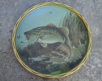 RESERVED Vintage Fishing Bass Tin Metal Plate Tray Platter