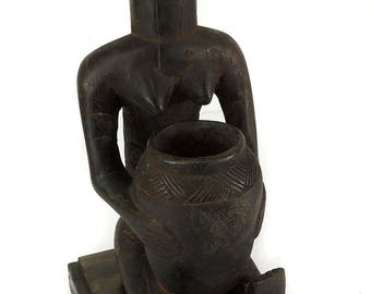Luba Seated Female Bowl Bearer Congo African Art 116694