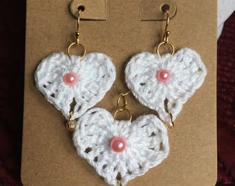 Heart Bead Crochet Earring Pendant Set