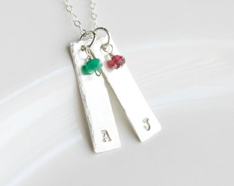 Bar Necklace for Mom - Birthstone Mom Jewelry - Sterling Silver Mommy Necklace - Custom Mom Necklace - Mom Necklace Twins