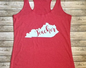Ladies Triblend Workout Tank TEACHER Mom HOME Yall Love Your State