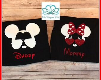 Family Disney shirts, sunglasses Mickey and Minnie mouse shirts, cool disney family vacation shirts
