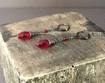 Deep Red Swarovski Crystal Briolette Dangling Earrings, Sterling Silver, Copper, Valentine, Love