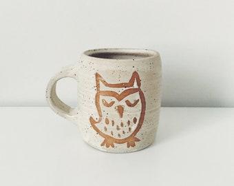 Speckled Owl Ceramic Mug, wheel thrown coffee mug, speckled cream stoneware ceramic speckled pottery mug with wax resist modern mug