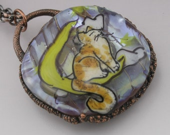 SRA Lampwork Pendant Electroformed Jewelry Copper Necklace Moon Stars Cat Rustic Necklace Handmade OOAK Art Glass Heather Behrendt 6054