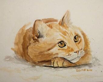 Custom Cat portrait, Custom Cat Painting, Custom Pet portrait, Watercolor Painting, Original Painting, Original Art Custom Portrait