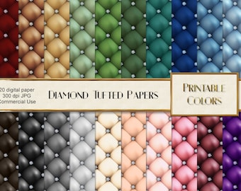 Diamond digital paper, digital download, diamond paper, diamond tufted leather paper, diamond scrapbook, diamond upholstery, digital leather