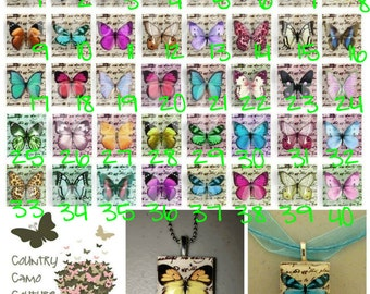 Vintage Butterfly Scrabble Tile Necklace
