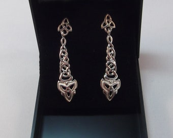 Lovely Celtic Knot and Triquetra Design Silver Drop Earrings
