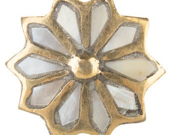 Brass & Pearl Flower Drawer Pull Knob Home Decor