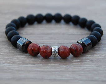 Black Onyx Bracelet,Onyx and Jasper Gemstone 8mm Beads,Onyx Bracelet,8mm Onyx Beads,Boho,Yoga Bracelet,Men,Woman,Protection,Meditation,Gift