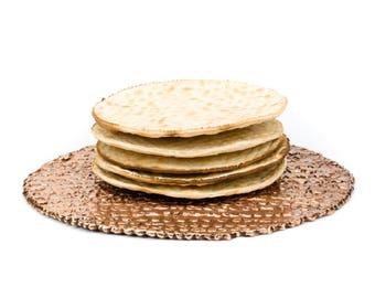 Round Textured Bronze Matzo/Matza/Matzah Plate for Passover