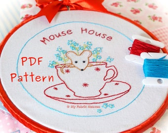 Mouse-House PDF Embroidery Hoop Pattern & Photo Tutorial Instructions, Easy